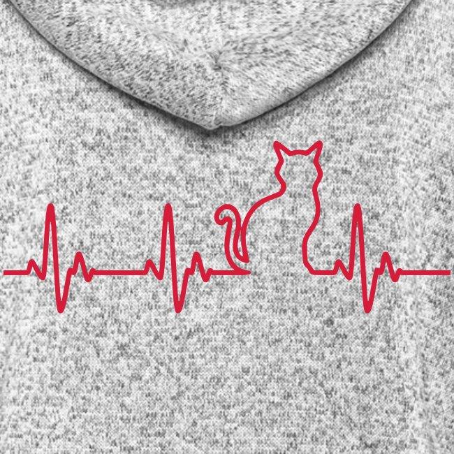 Vorschau: Ein Herz für Katzen - Frauen Kapuzen-Fleecejacke
