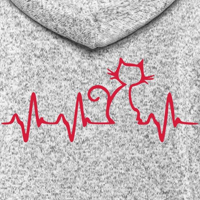 Vorschau: Cat Heartbeat - Frauen Kapuzen-Fleecejacke