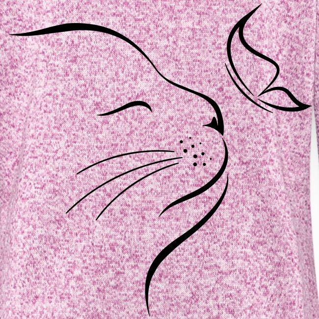 Vorschau: cat butterfly - Frauen Kapuzen-Fleecejacke