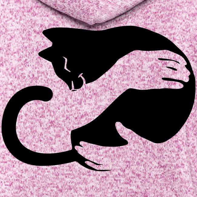 Vorschau: cat hug - Frauen Kapuzen-Fleecejacke