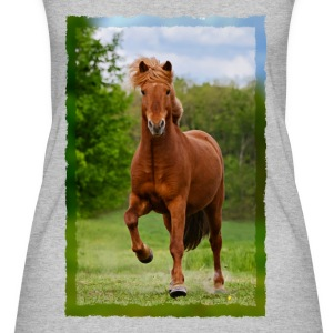 Icelandic horse running in tölt over meadow horse photo - Women's Organic Tank Top