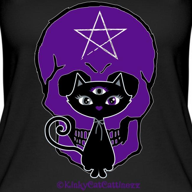 Schwarze Katze - Totenkopf - Pentagramm