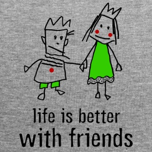 life is better with friends König Prinzessin Krone - Jersey-Beanie