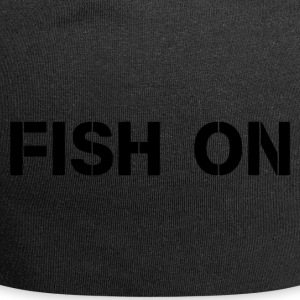 fish on black writing - Jersey Beanie