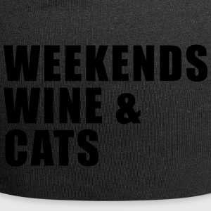 WEEKEND. WINE AND CATS! - Jersey Beanie