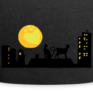 Cats in love at night - Jersey Beanie