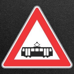 Road sign train red - Jersey Beanie
