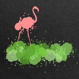 Flamingo with green color blobs - Jersey Beanie