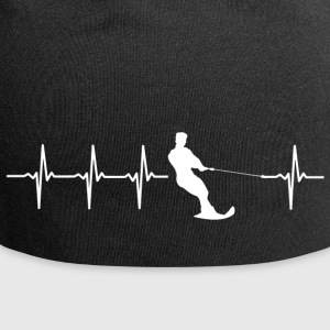Water skiing, heartbeat design - Jersey Beanie