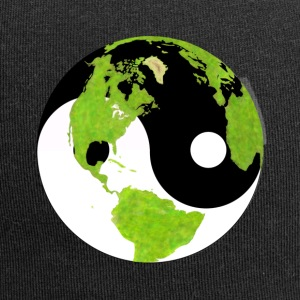 yin and yang earth planet globe yin and yang earth - Jersey Beanie