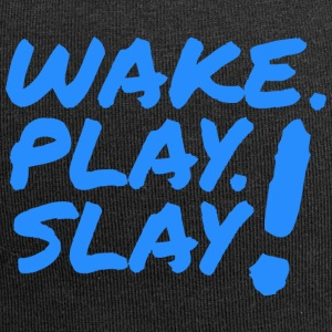 Wake, Play, Slay. Blue. - Jersey Beanie