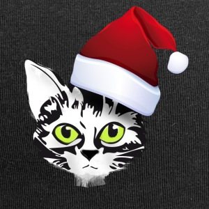 xmas cat Santa kitty cute face fur green - Jersey Beanie
