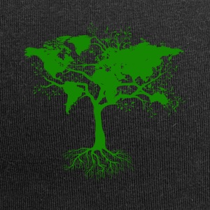 Tree with world maps green - Jersey Beanie