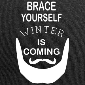 Brace Yourself Winter is Coming with beard - White - Jersey Beanie