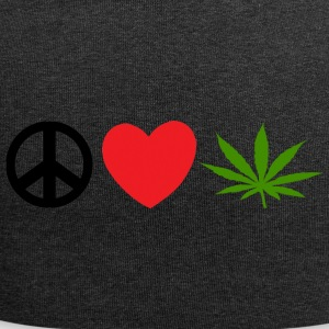 Peace Love Marijuana Cannabis Weed Pot - Beanie in jersey