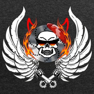 Skull Wings Flames horns flask glasses - Jersey Beanie
