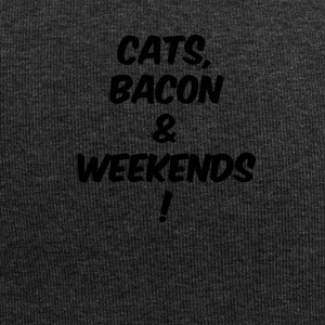 cats bacon weekends black - Jersey-Beanie