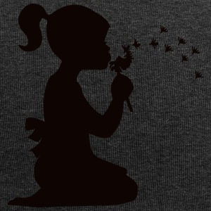 Small affectionate girl blowing dandelion - Jersey Beanie