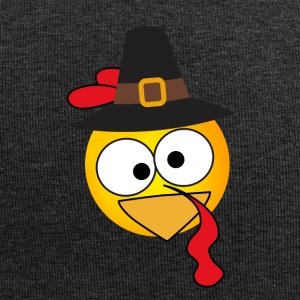 emoji turkey thanksgiving hat eat comic smile - Jersey Beanie