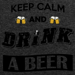 Keep calm and drink a beer (black font) - Jersey Beanie