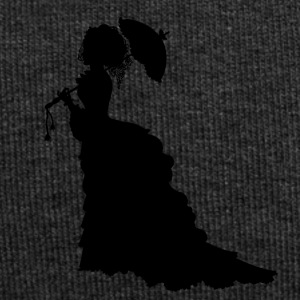 Black Baroque Lady silhouette with umbrella - Jersey Beanie