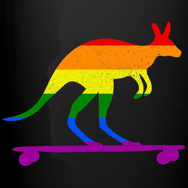 Skater Känguru Longboard Skateboard Regenbogenfahn