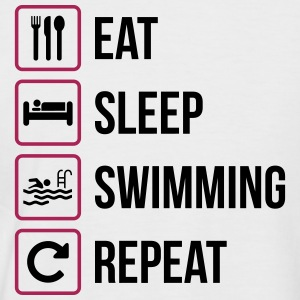 Eat Sleep Swimming Repeat - Men's Baseball T-Shirt