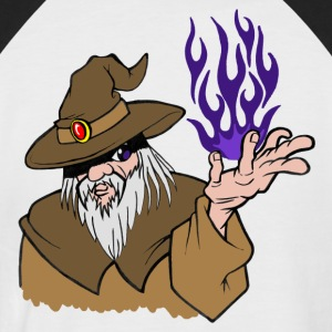Willpower Wizard Brown / Dark Purple Flame - No Text - Men's Baseball T-Shirt