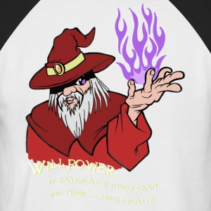 Willenskraft Wizard Rot / Lila Flamme - Männer Baseball-T-Shirt