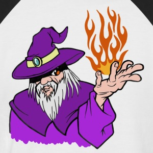 Willpower Wizard Purple / Red / Orange Flame - No Text - Men's Baseball T-Shirt