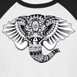 Elephant Ornate Drawing - Men's Baseball T-Shirt
