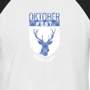 oktoberfest-crest antlers checkered Bayern deer - Men's Baseball T-Shirt