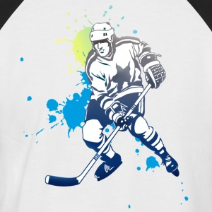 hockey splatter hockey player puck attack cool - Men's Baseball T-Shirt