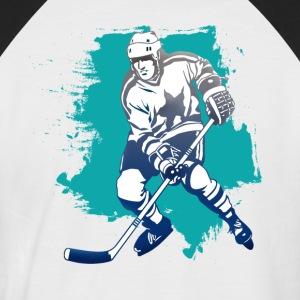 hockey puck hockey player attacking cool polar bears - Men's Baseball T-Shirt
