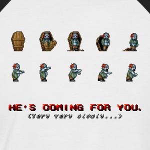Pixel Zombie Coffin Animation - Men's Baseball T-Shirt