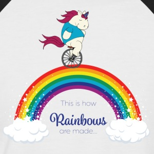 Faules Pummelhorn Einhorn | How rainbows are made - Männer Baseball-T-Shirt