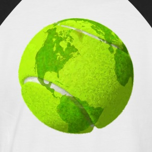 tennis ball earth planet globe tennisball erde - Männer Baseball-T-Shirt