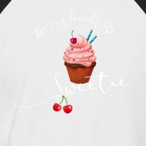 Sweet cupcake sweet cherry heart love pink - Men's Baseball T-Shirt