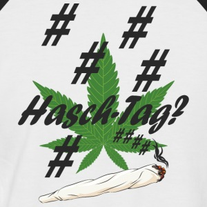 Hash tag with hemp leaf - Men's Baseball T-Shirt