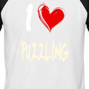I love puzzles - Men's Baseball T-Shirt