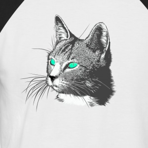 Cat Head Drawing Animal Head large fur green aug - Men's Baseball T-Shirt
