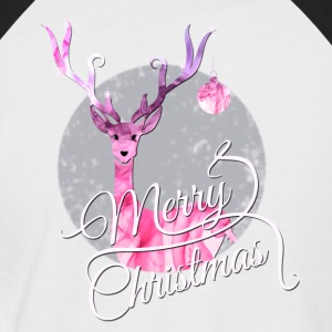 merry christmas deer pink romantic girl female X - Men's Baseball T-Shirt