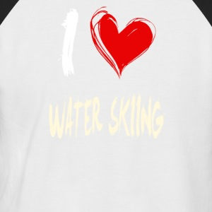 I Love Waterskiing - Men's Baseball T-Shirt
