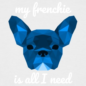 Low Poly Frenchie blue - Men's Baseball T-Shirt