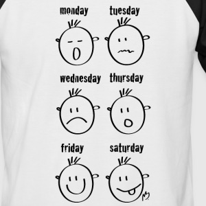 Weekdays Smilies - Men's Baseball T-Shirt