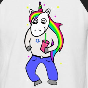 Unicorn disco with drink - Men's Baseball T-Shirt