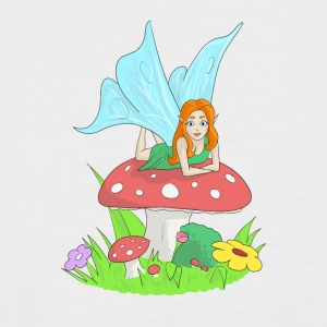 Fairy, elf lying on a fly's mushroom - Men's Baseball T-Shirt