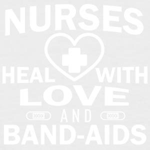 Nurses heal with love and plasters. - Men's Baseball T-Shirt