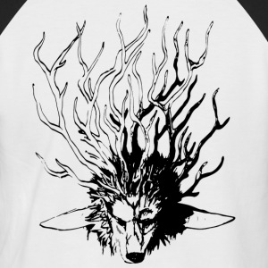 Wolf_Geweih_SW - Men's Baseball T-Shirt
