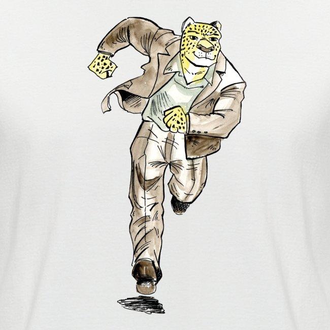 guépard caricature en aquarelle qui coure